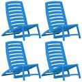 vidaXL Folding Beach Chair 4 pcs Plastic Blue