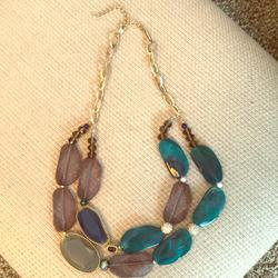 Anthropologie Jewelry   Multicolored Statement Necklace   Color: Blue/Green/Red   Size: Os