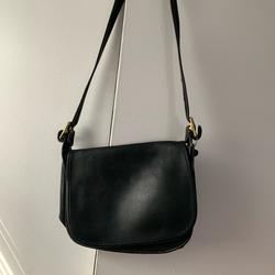 Coach Bags | Coach Vintage Flap Over Black Leather Crossbody | Color: Black | Size: Os