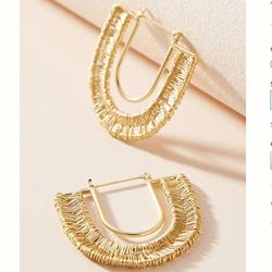 Anthropologie Jewelry | Nwt Anthropologie Wrapped U-Hoop Earrings | Color: Gold | Size: 1.5
