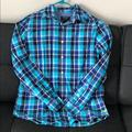 American Eagle Outfitters Shirts   Mens American Eagle Blue Plaid Dress Shirt   Color: Blue/Gray   Size: L