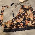 American Eagle Outfitters Intimates & Sleepwear   Floral Bandeau Top, High Neck, Crop Top, Medium   Color: Blue/Cream   Size: M