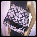 Coach Bags | Coach Patent Leather And Canvas Messenger Bag | Color: Black/Gray | Size: 12x14x2