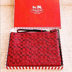 Coach Bags | Coach Red Sequin Signature Wristlet - Bnwt And Box | Color: Red | Size: Os