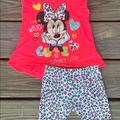 Disney Shirts & Tops | Disneys Girl Minnie Mouse Short Sleeve Outfit 24m | Color: Pink | Size: 24mb
