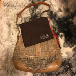 Coach Bags | Leather And Canvas Coach Messenger Bag | Color: Brown/Silver/Tan | Size: Os