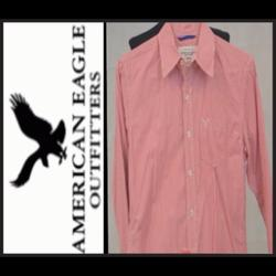 American Eagle Outfitters Shirts | American Eagle Vintage Cut Mens Striped Ls Shirt | Color: Red/White | Size: Xs