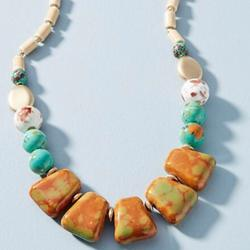 Anthropologie Jewelry | Anthropologie Hatte Statement Necklace | Color: Green/Orange | Size: Os