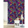 "UniQstiQ Hippie Floral Paintable Wall Mural Vinyl in Blue/Brown/White, Size 25""W x 50""H | Wayfair A01953"