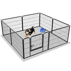Yaheetech Parc pour Chien 80 L x 60 H cm Enclos Métal pour Chiot Lapin Cochons Inde 8 Panneaux Petit Rongeur Pet Playpen