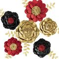 3D Paper Flower Decorations, Giant Paper Flowers, Large Handcrafted Paper Flowers (Gold, Red, Black Set of 6) for Wedding Backdrop, Bridal Shower, Wedding Centerpieces, Baby Shower, Nursery Wall Decor