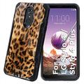 TalkingCase Black Hybrid Dual-Layer Phone Case for LG Stylo 4,Stylo 4 Plus,Leopard Skin Texture Print,Double-Layer,Armor Exterior,Soft Gel Interior Cover,Designed in USA