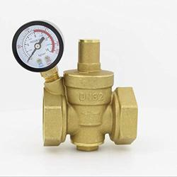 """Mercury_Group Electric Valve, DN32 Brass Water Pressure Reducing Valve 1 1/4"""" Adjustable Valves With Pressure Gauge Meter Adjustable Relief Valve"""