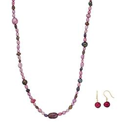 14k Gold Dyed Cultured Freshwater Pearl Necklace & Earring Set, Women's, Purple