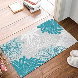 """DaringOne Turquoise-Gray Daisy Floral Indoor/Outdoor Non-Slip Rubber Welcome Mats Floor Rug for Bathroom/Front Entryway 20"""" W X 31.5"""" L"""