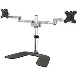 """StarTech.com Dual Monitor Stand - Ergonomic Desktop Monitor Stand for up to 32"""" VESA Displays - Free-Standing Articulating Universal Computer Monitor Mount - Adjustable Height - Silver (ARMDUALSS)"""