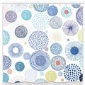 UNIFEEL Modern Design Colorful Circles and Fireworks Fabric Shower Curtains Bathroom Décor Machine Washable. Blue