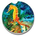 "Highland Dunes Colorful Seahorse Absorbent Stone Car Coaster, Stoneware in Blue/Orange/Green, Size 2""H X 2""W 