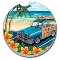 "Bay Isle Home™ Beach Classics II Absorbent Stone Car Coaster, Stoneware in Beige/Orange/Green, Size 2""H X 2""W 