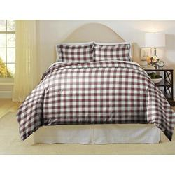 Pointehaven 180 Gsm Luxury Cotton Printed Reversible Duvet Cover Set Flannel/Cotton/100% Cotton in Red, Size Full/Queen Duvet Cover + 2 Shams