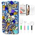 STENES Bling Phone Case Compatible with LG Stylo 2 - Stylish - 3D Handmade Sparkle Series Big Butterfly Rose Flowers Design Cover with Screen Protector & Cable Protector - Blue