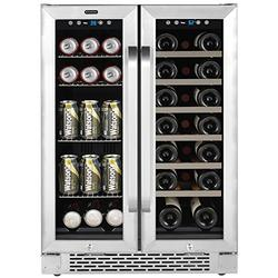 """Whynter Cooler BWB-2060FDS 24"""" Built-In French Door Dual Zone 20 Bottle Wine Refrigerator 60 Can Beverage Center, Stainless Steel, One Size"""