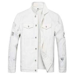 LZLER Jean Jacket for Men, Classic Ripped Slim Denim Jacket with Holes(2023 White, L)