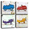 """Wall Art for Boys Room Kids Gifts Wall Decor Cute Cartoon Cars Airplane Canvas Prints Hand Painted Style Painting Pictures Framed Artwork Children's Playroom Home Decoration Set of 4 Panels 20"""" x 20"""""""