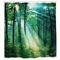 Forest Bathroom Shower Curtain Sunshine Green Forest Trees Shower Curtains Set 12 Hooks Waterproof Bath Curtain Bathroom Accessories , 72W by 72H Inch