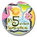 "Bay Isle Home™ Absorbent Stone Five O'Clock Somewhere Car Coaster, Stoneware in Blue, Size 2""H X 2""W 