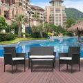 Ansley&HosHo Rattan Patio Furniture Set 4 Pieces Cushioned Garden Furniture All Weather Outdoor Conversation Set Black PE Rattan Wicker - 1 Loveseat 2 Armchairs 1 Coffee Table (4 Pieces, Black)