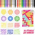 24 Acrylic Paint Pens | 12 Medium Tip + 12 Extra-Fine Tip | Paint Markers Come With FREE Stencils, Carry Case, E-Book | Rock Painting, Stone, Metal, Ceramic, Porcelain, Glass, Wood, Fabric, Canvas