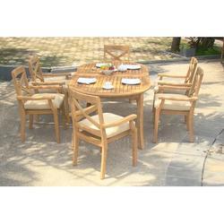 Rosecliff Heights Glenn Luxurious 7 Piece Teak Dining Set Wood/Metal in Brown/White, Size 30.5 H x 94.0 W x 40.0 D in   Wayfair