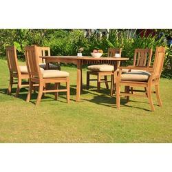 Rosecliff Heights Kevon Luxurious 7 Piece Teak Dining Set Wood in Brown/White, Size 30.5 H x 71.0 W x 40.0 D in | Wayfair