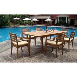 Rosecliff Heights Breanna Luxurious 7 Piece Teak Dining Set Wood in Brown/White, Size 30.5 H x 94.0 W x 40.0 D in | Wayfair