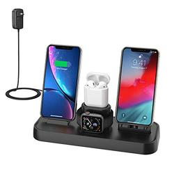 Wireless Charger, 4 in 1 Charging Station for Apple, Wireless Charging Pad Stand with Apple Watch Charger Stand, Apple Watch Charging Stand with AirPods Dock Wireless Charger for iPhone iWatch Airpods