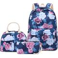 BLUBOON Teens Backpack Set Girls School Bags Travel Floral Bookbags 3 in 1 (0047 Navy Blue)