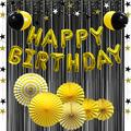 Gold Happy Birthday Balloons Banner Decorations, Yellow Black Party Balloons, Hanging Party Swirls, Paper Fans, Foil Fringe Curtain, Star Garlands