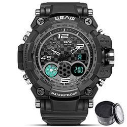 Digital Watch SBAO Watch Men's Luxury Analog Quartz Dual Display Watch Waterproof Sports Military Digital Led Army Tactical Wrist Watch (1_Black)