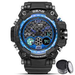 Digital Watch SBAO Watch Men's Luxury Analog Quartz Dual Display Watch Waterproof Sports Military Digital Led Army Tactical Wrist Watch (Black Blue)