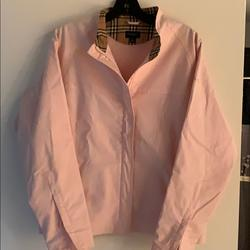 Burberry Jackets & Coats | Burberry Cotton Golf Jacket Wplaid-Lined Collar | Color: Pink | Size: L