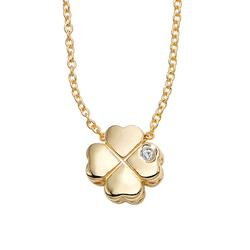 HMY Jewelry Women's Necklaces yellow - Diamond & 14k Gold Clover Pendant Necklace