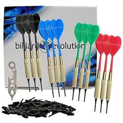 Billiard Evolution Set of Twelve Brass 2ba 16gm Soft Tip Bar Darts, 100 Black Dart Tips, Dart Wrench