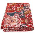 Floral print Indian Patch Work Cotton Kantha Quilt Queen Bedspreads Throw Blanket Bohemian Bedspread , Bohemian Bedding , Handmade Kantha Quilt , King Size Kantha Quilt , Patch Quilt , Bed Cover,