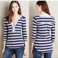 Anthropologie Tops | Anthro Little Yellow Button Elsie Striped Henley | Color: Blue/Gray | Size: S