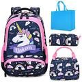 Girls Backpack 3 in 1 Sets Unicorn School Backpack for Girls Elementary Preschool Bookbags for Kids School Bag with Lunch Tote Bag Pencil Purse Bag Pink