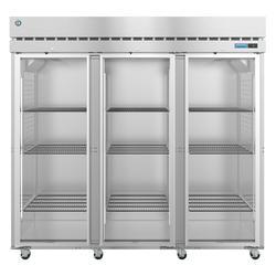 "Hoshizaki R3A-FG SteelHeart 82 1/2"" Three Section Reach In Refrigerator, (3) Left/Right Hinge Glass Doors, 115v"
