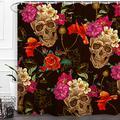 "Baccessor Skulls Shower Curtain Sugar Roes Flowers Skull Skeleton Halloween All Saints Day Black and White Waterproof Bathroom Decor with hooks,60""W x 72""H (150CM x 180CM) - Skulls and Poppy Flowers"