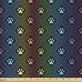 Ambesonne Dog Lover Fabric by The Yard, Paw Print Pattern with Diamond Shaped Rhombus Shapes Design Geometric Arrangement, Decorative Fabric for Upholstery and Home Accents, 3 Yards, Blue Orange