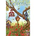 Welcome Garden Flags 28x40 Inches Poppies and Birdhouses Outdoor Flag Double Sided House Flags